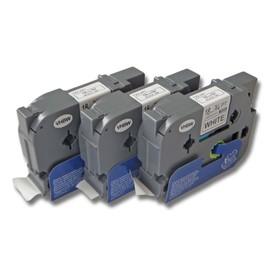 3x Cassette � Ruban Vhbw 18 Mm Pour Brother 2450 Cc, 2450 Dx, 2500 Pc, 2730 Vp, 300 Sp, 310 Cc, 340 C, 540 C. Remplace: Tz-241, Tze-241.