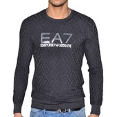 Ea7 - Pull Fin Col Rond - Homme - Train Core - Dark Grey Gris Fonc�