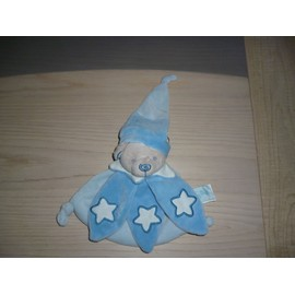 Doudou Plat Ours Bleu �toile Blanche Luminescent Baby Nat