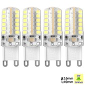 Sunix� 4x Haute Puissance G9 5w 48 Smd 2835 Ac 220-240v Led Lampe Silicone Ampoule � Broches Spotlight �conomie D'�nergie Blanc Pur Su065