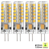 Sunix� 4x Haute Puissance G4 5w 48 Smd 2835 Dc/Ac 12v Led Silicone Lampe Ampoule � Broches Spotlight �conomie D'�nergie Blanc Chaud Dimmable Su023