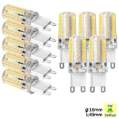 Sunix� 10x Haute Puissance G9 5w 48 Smd 2835 Ac 220-240v Led Lampe Silicone Ampoule � Broches Spotlight �conomie D'�nergie Blanc Chaud Su064