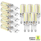 Sunix� 10x Haute Puissance G9 5w 48 Smd 2835 Ac 220-240v Led Lampe Silicone Ampoule � Broches Spotlight �conomie D'�nergie Blanc Pur Su066