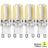 Sunix� 4x Haute Puissance G9 5w 48 Smd 2835 Ac 220-240v Led Lampe Silicone Ampoule � Broches Spotlight �conomie D'�nergie Blanc Chaud Su063