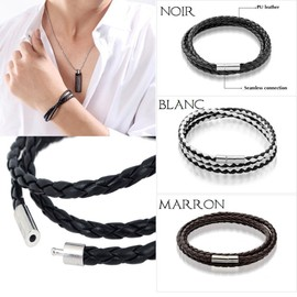 Bracelet Cuir Homme Force Noir Blanc Marron Antique Style Rock Punk