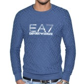 Ea7 - Pull Fin Col Rond - Homme - Train Core - Bleu