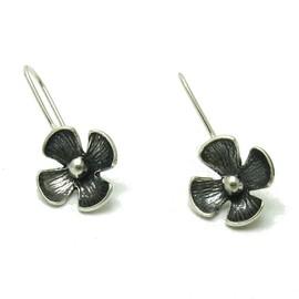 E000558 Boucles D'oreilles En Argent Massif 925 Fleur