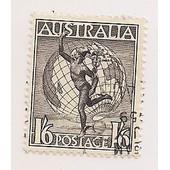 Australie- 1 Timbre Oblit�r� Mercure Et Globe- S�pia