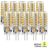 Sunix� 10x Haute Puissance G4 5w 48 Smd 2835 Dc/Ac 12v Led Silicone Lampe Ampoule � Broches Spotlight �conomie D'�nergie Blanc Chaud Dimmable Su024