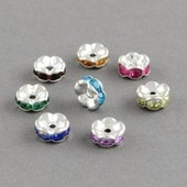 20 Perles Intercalaires Strass Rondelle Multicolores 8mm