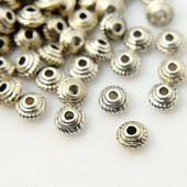 50 Perles Intercalaires Toupies Argent Antique