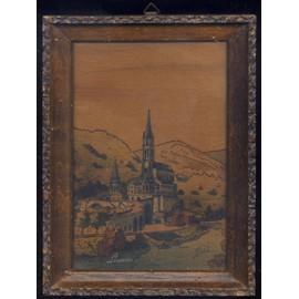 tableau pyrogravure de BOLI Lourdes, ancienne basilique