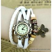Montre Bracelet - Style Hippie Chic, R�tro, Vintage - Cuir Blanc Tress� Avec Perles Et Breloque Papillon