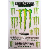 Planche Autocollant Stickers Monster Energy 18 Pieces