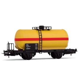 V�hicule Pour Circuit De Train : Wagon Citerne � Deux Essieux, Livr�e Jaune/Rouge