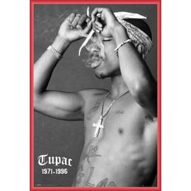 Poster encadré: 2pac - Smoke (91x61 cm), Cadre Plastique, Rouge