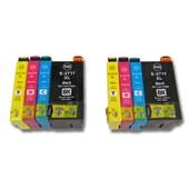 vhbw 8x Druckerpatronen Tintenpatronen Set f�r Epson Workforce WF-3620DWF, WF-3640DTWF, WF-7110DTW, WF-7610DWF wie T2711, T2712, T2713, T2714, 27XL.