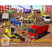 Adhesif Mural Stickers Muraux Chambre Enfant Cm 244 X 305 Construction And Building Site [40342] Walltastic