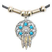 Western Express - Collier Western Indien Country Metal Dreamcatcher - Pierre Turquoise - Lacet Cuir - Made In Usa # N-2000