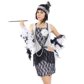Maboobie Deguisement Costume Tenue Robe A Frange Bandeau Annee 20 1920 Charleston Adult Femme Fille Flapper Argente
