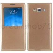 Etui Coque Housse Flip Cover View Samsung Galaxy Core Prime (G360) Gold Dreamshop75�