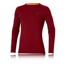 Asics Fujitrail Homme Rouge Running Manche Longue Baselayer Compression Top Haut