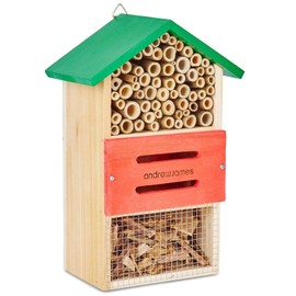Hôtel À Insectes En Bois  Parfait Pour Les Abeilles Solitaires Et Insecticides Naturels Comme Des Coccinelles Et Névroptères  Garantie 2 Ans
