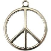 Breloque M�tal - Grand Peace And Love - Argent� - Megacrea