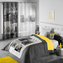 Couvre Lit Matelass� 240x220 Microfibre Ny Yellow