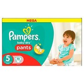 Pampers Baby-Dry Pants Couches Taille 5 (Junior) 12-18 Kg X 72