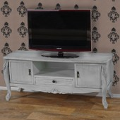 Meuble Tv Barletta �tag�re Table D'appoint, Style Antique Baroque, 54x122x42cm Blanc Shabby Chic