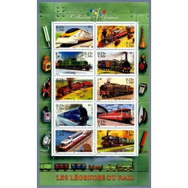 Bloc feuille BF 38 Collection jeunesse Les légendes du rail - locomotives train - timbres 3405 à 3414 - 2001