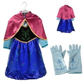Costume D�guisement La Reine Des Neiges Robe Anna + Cape Frozen Personnage Princesse + Gants