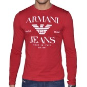 Armani Jeans - Tshirt Manches Longues - Homme - U6h22 Ml - Rouge