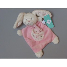 Doudou Lapin Rose, Brod� �toiles Argent, Tex, Carrefour