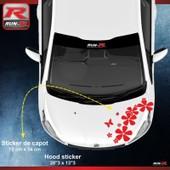 Sticker Capot Pour Peugeot 208 Fleurs - Rouge