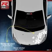 Sticker Capot Pour Peugeot 208 Fleurs - Blanc