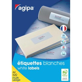 Apli-Agipa - �tiquettes Adh�sives Permanentes - Blanc - 63.5 X 33.9 Mm 2400 �tiquette(S) ( 100 Feuille(S) X 24 )