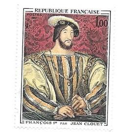 Timbre oblitéré n°1518,année 1967.Portrait de François 1e par Jean Clouet.