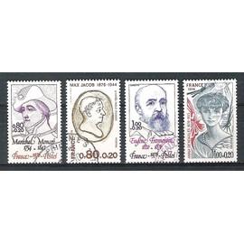 france, 1976, célébrités & personnages célèbres, N°1880 + 1881 + 1897 + 1898, oblitérés.