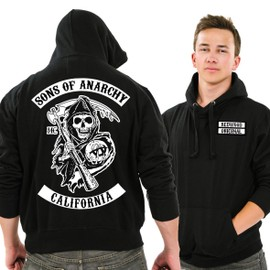 Sweat Capuche Sons Of Anarchy Redwood Original Noir Face Et Dos