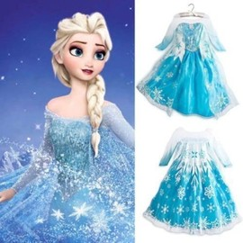 Robe Elsa La Reine Des Neiges D�guisement Costume Princesse Frozen Enfant Qualit� Premium