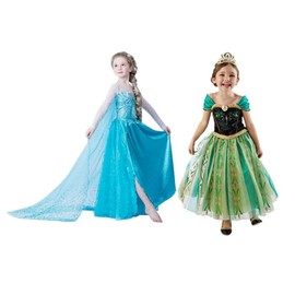 Duo Robe Anna + Elsa La Reine Des Neiges D�guisement Costume Princesse Frozen Enfant Qualit� Premium