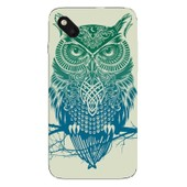 Coque Protection Telephone Wiko Sunset 2 - Chouette Bleue Branche
