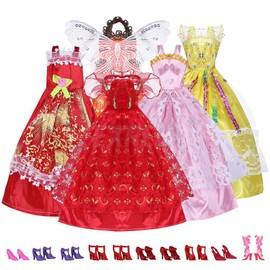 5 Robes Tenues Princesses + 10 Paires De Chaussures Poupee Barbie