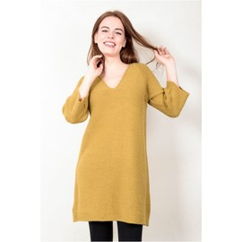 Robe Pull Grosses Mailles Col V Moutarde