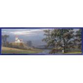 Poster Reproduction Encadr�: Johan Christian Clausen Dahl - Paysage De Pedersborg Pr�s De Sor� Et �glise De Pedersborg, 1832 (30x91 Cm), Cadre Plastique, Bleu