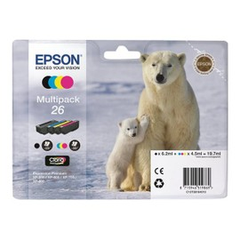 Epson 26 Multipack - Pack De 4 - Noir, Jaune, Cyan, Magenta - Original - Cartouche D'encre - Pour Expression Photo Xp-760, 860; Expression Premium Xp-510, 520, 600, 620, 625, 720, 800, 820