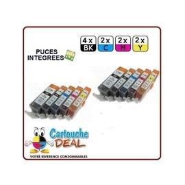 Canon Pgi-525 Cli-526 : Lot 10 Cartouches Compatible Pour Pixma Ip4850 Ip4950 Ix 6550 Mx715 Mx885 Mx895 Mg5200 Mg5250 Pgi525