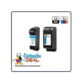Hp15 Hp78 : Lot 2 Cartouches Compatible Pour Psc 700 Series 720 750 750xi 900 Series 950 950vr 952 - Hp 15 Hp 78